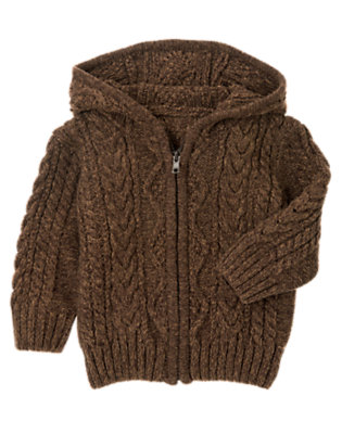 Dark Brown Heathered Cable Hooded Zip Cardigan by Gymboree