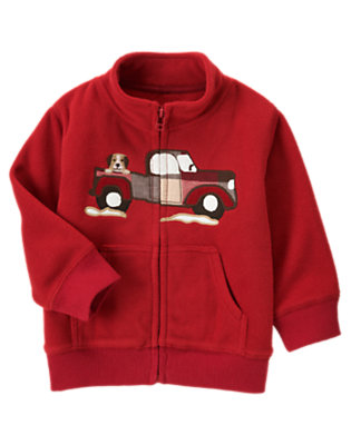 Toddler Boys Alpine Red Puppy Truck Microfleece Zip Cardigan by Gymboree