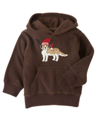 Dark Brown Holiday Puppy Microfleece Hoodie by Gymboree
