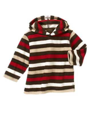 Toddler Boys Tan Heather Stripe Stripe Microfleece Hoodie by Gymboree