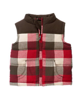 Toddler Boys Dark Brown Plaid Plaid Flannel Vest by Gymboree