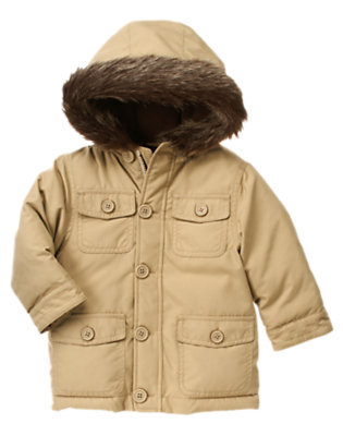 Winter Khaki Faux Fur Hooded Cargo Jacket by Gymboree