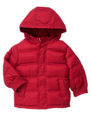 Toddler Boys Alpine Red Hooded Puffer Jacket by Gymboree