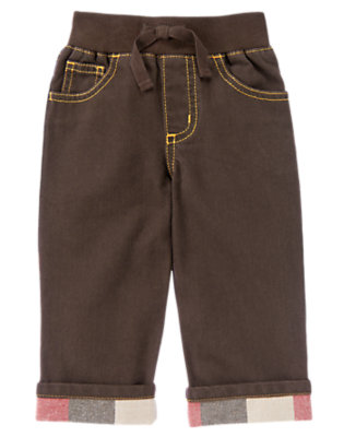 Dark Brown Plaid Cuffed Brown Denim Pant by Gymboree