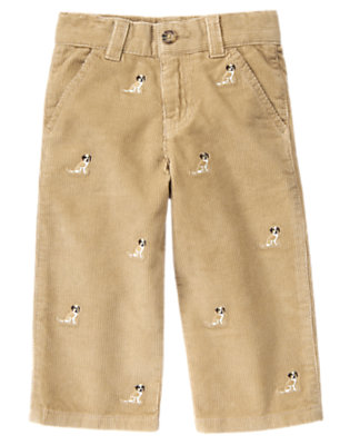 Toddler Boys Khaki Puppy Embroidered Corduroy Pant by Gymboree