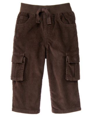 Toddler Boys Dark Brown Pull-On Corduroy Cargo Pant by Gymboree