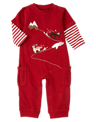Alpine Red Reindeer Puppy Double Sleeve One-Piece by Gymboree