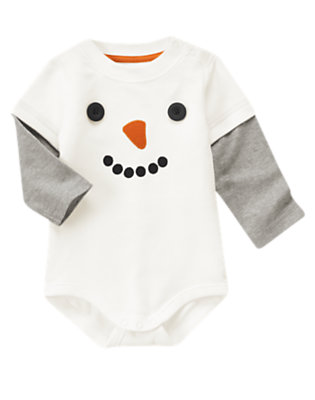 Ivory Snowman Double Sleeve Bodysuit by Gymboree