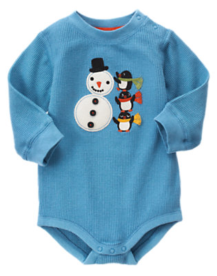 Igloo Blue Snowman Bodysuit by Gymboree