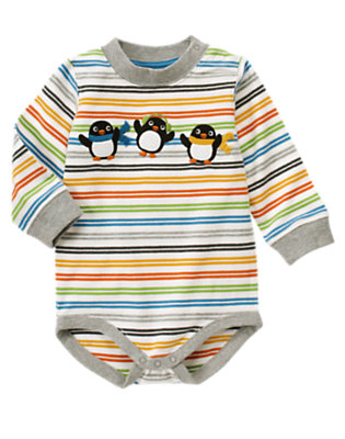 Igloo Blue Stripe Penguin Stripe Bodysuit by Gymboree