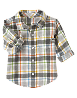 Penguin Grey Plaid Plaid Flannel Shirt by Gymboree