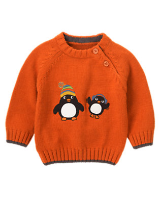 Carrot Orange Penguin Sweater by Gymboree