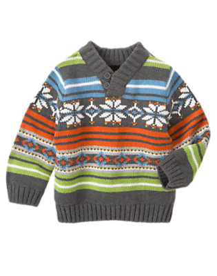 Carrot Orange Fair Isle Fair Isle Shawl Collar Sweater by Gymboree