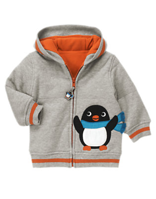Igloo Grey Penguin Hoodie by Gymboree