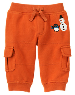 Baby Carrot Orange Penguin Fleece Cargo Pant by Gymboree