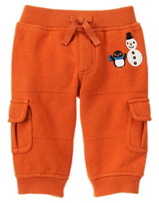 Carrot Orange Penguin Fleece Cargo Pant by Gymboree