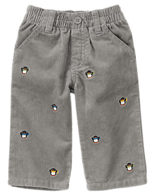 Frost Grey Penguin Corduroy Pant by Gymboree