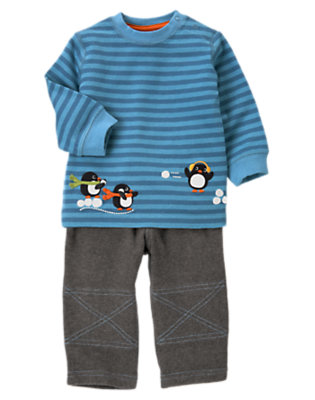Igloo Blue Mini Stripe/Penguin Grey Penguin Two-Piece Set by Gymboree
