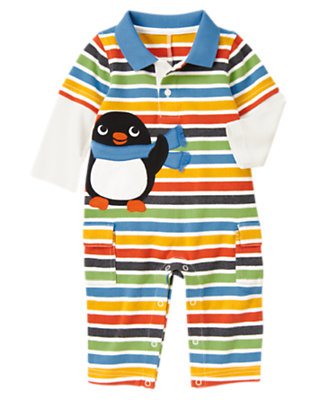Igloo Blue Stripe Penguin Double Sleeve Polo One-Piece by Gymboree