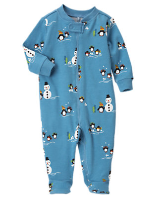 Igloo Blue Snowman Penguin Footed One-Piece by Gymboree