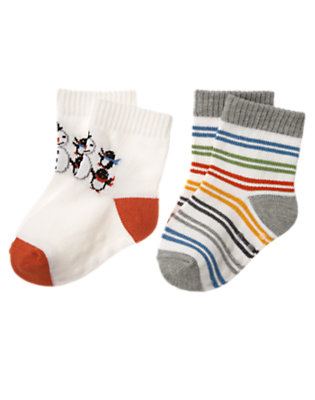 Baby Ivory/Igloo Blue Stripe Penguin Stripe Sock Two-Pack by Gymboree