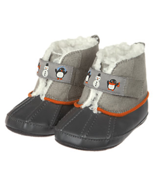 Penguin Grey Penguin Crib Snow Bootie by Gymboree