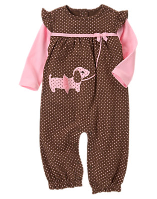Baby Cocoa Brown Dot Puppy Tutu One-Piece by Gymboree