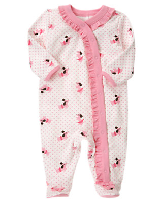 Ivory Dot Puppy Footed One-Piece by Gymboree