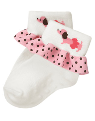 Baby Ivory Puppy Ruffle Sock by Gymboree