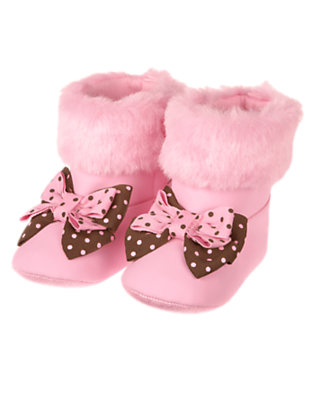 Playful Pink Bow Faux Suede Crib Bootie by Gymboree