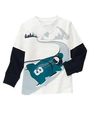 Boys Ivory Bobsled Double Sleeve Tee by Gymboree