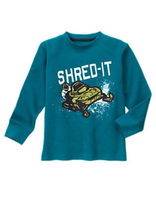 Boys Teal Blue Snowmobile Thermal Tee by Gymboree