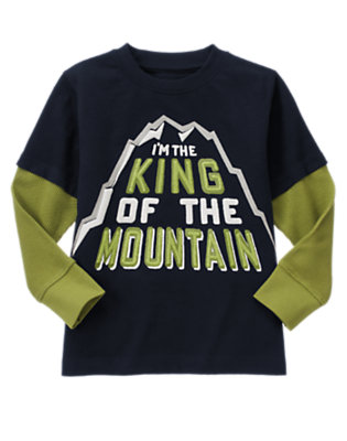 Navy King Of The Mountain Double Sleeve Tee by Gymboree