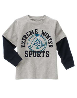 Heather Grey Extreme Winter Sports Double Sleeve Tee by Gymboree