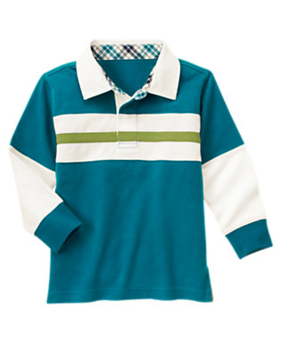 Teal Blue Pieced Stripe Rugby Shirt by Gymboree