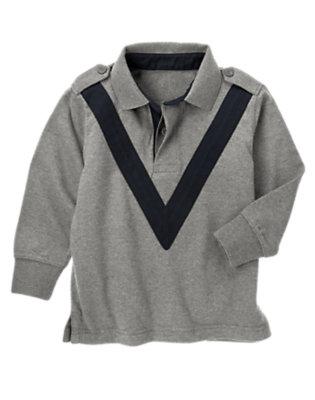 Boys Asphalt Grey V-Stripe Rugby Shirt by Gymboree