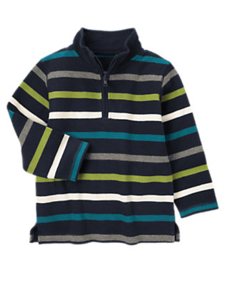 Navy Stripe Stripe Half Zip Pullover by Gymboree