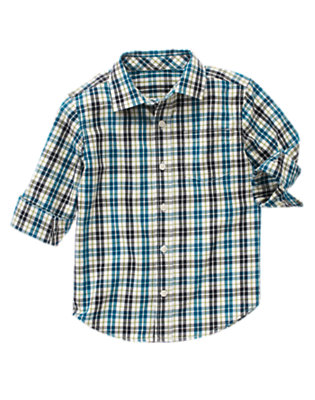 Ivory Plaid Tattersall Shirt by Gymboree
