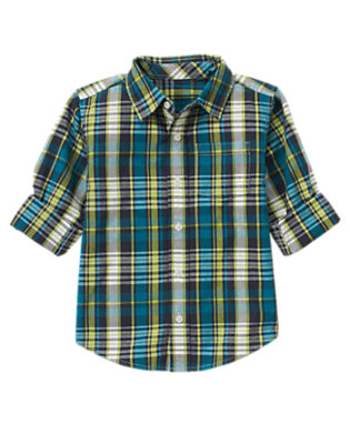 Teal Blue Plaid Plaid Shirt by Gymboree