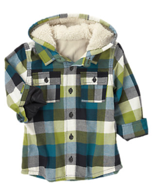 Moss Green Plaid Hooded Plaid Flannel Shacket by Gymboree