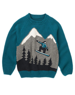 Teal Blue Snowboarder Sweater by Gymboree