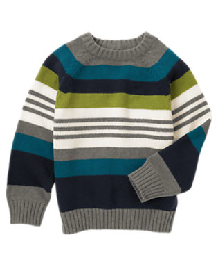 Boys Heather Grey Stripe Stripe Pullover Sweater by Gymboree