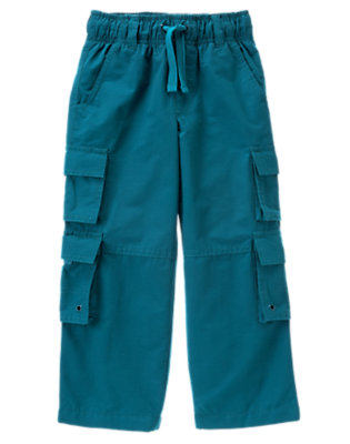 Teal Blue Double Cargo Pocket Lined Active Pant by Gymboree