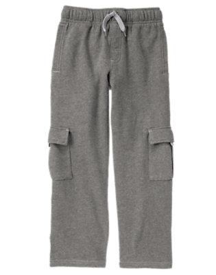 Boys Asphalt Grey Fleece Cargo Pant by Gymboree
