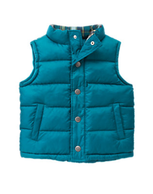 Teal Blue Quilted Puffer Vest by Gymboree