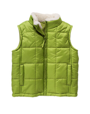 Boys Moss Green Sherpa Collar Puffer Vest by Gymboree