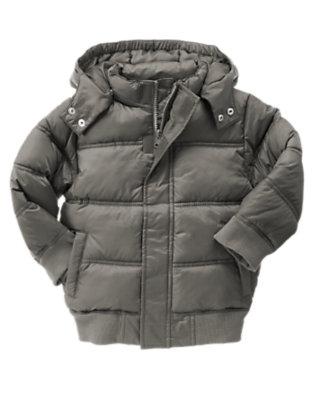 Asphalt Grey Hooded Puffer Jacket by Gymboree
