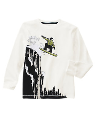Boys Ivory Snowboarder Thermal Tee by Gymboree