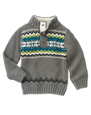 Asphalt Grey Fair Isle Half Snap Sweater by Gymboree