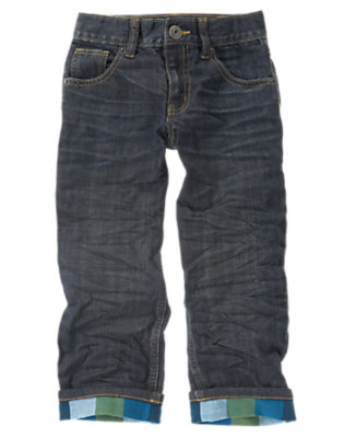 Boys Denim Plaid Flannel Cuffed Jean by Gymboree